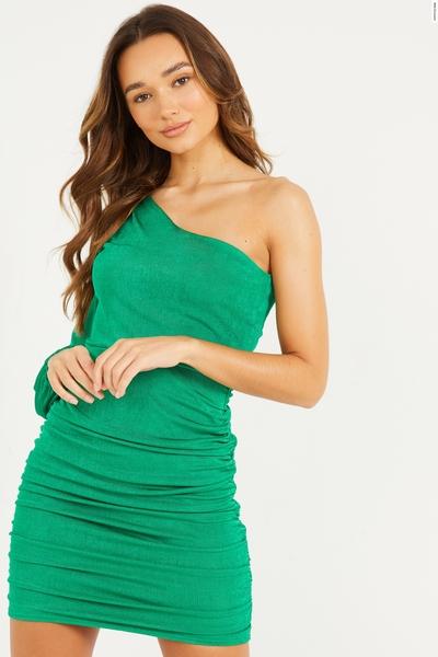 Green One Shoulder Ruched Dress